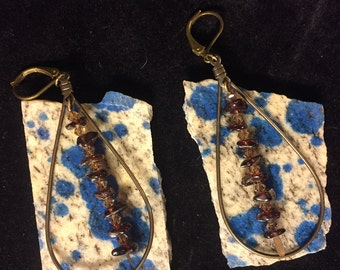 Custom earrings, garnet inlay