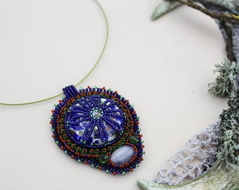 Beaded necklace Tribal style necklace Blue unique necklace Beadwork necklace Statement necklace Embroidered necklace pendant Jewelry gift