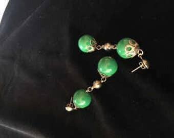 Vintage Green Post Earrings