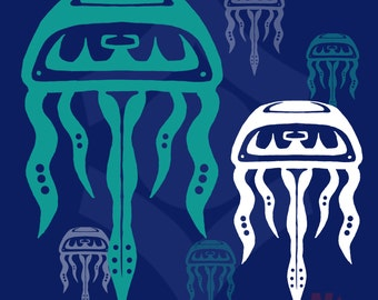 Inuit Style Jellyfish Decal