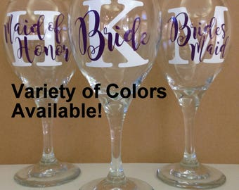 Bridal Party Custom Wine Glasses. Bride Wine Glass. Maid of Honor Wine Glass. Bridesmaid Wine Glass