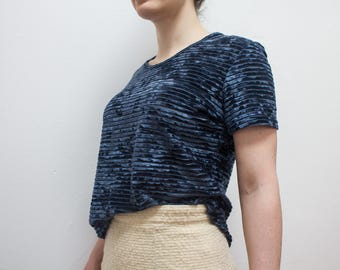 Navy Blue Striped Lightweight Velour Velvet Tshirt Top Shirt Soft 90s Vintage