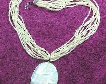 Cream Mother of Pearl Necklace & Pendant
