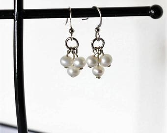 Tri-cluster Earrings Genuine 5mm Freshwater Pearl - Nickel Free