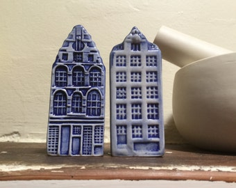 Delft Blue Salt and Pepper shakers Canal houses Amsterdam Vintage Delftware Blue and white collectibles