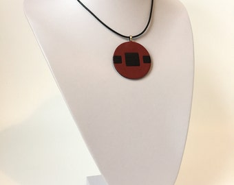 YAGO Dark Red and Black Leather Necklace Pendant