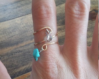 Gold spiral turquoise ring