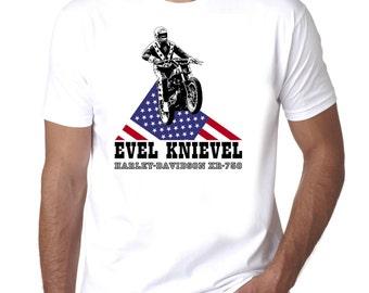 EVEL KNIEVEL Harley Davidson Stunt Man Retro Vintage Men's and Ladies T Shirt
