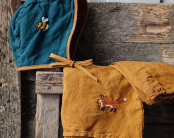 Linen Bonnet, Petrol Green/ Mustard Yellow, Washed Linen, Hand Made Embroidery, Organic Kids Clothing, Wear on Both Sides