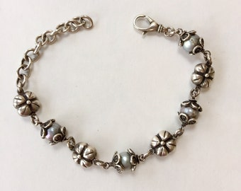 Sterling and Gray Pearl Bracelet