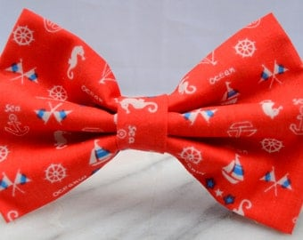 Red and White Nautical Pre-tied Adult Bow Tie