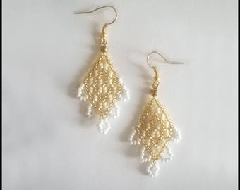 Gold-and-white Baroque earrings