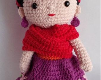 Patrón amigurumi muñeca Frida Kahlo / Pattern Frida Kahlo amigurumi doll