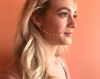 Cobalt - Faux nose stud/ cuff with beaded chain
