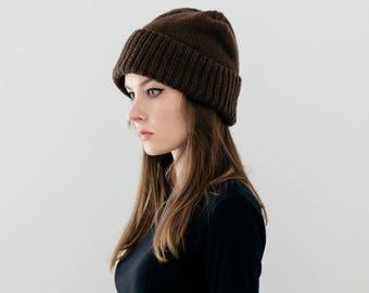 Cuffed Hat in Dark Brown