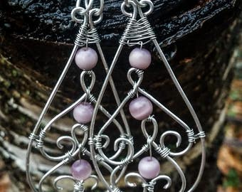 Purple and silver dangle wire earrings
