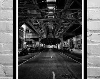 Black and White Photography, Urban Photography, Chicago - Under the L and Dreaming