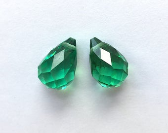 Antique Faceted Crystal Briolette Beads (Pair) - Green