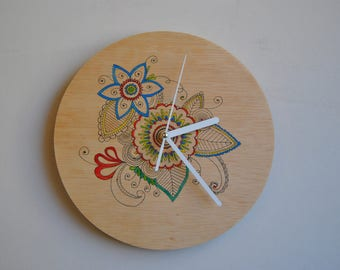 Hand painted. Wall clock. Plywood. Silent.