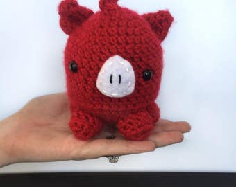 Arkansas Razorback Plush Toy | Razorback Baby Toy | Razorback Hog Gift | Gifts for Hog Lovers | Crochet Amigurumi