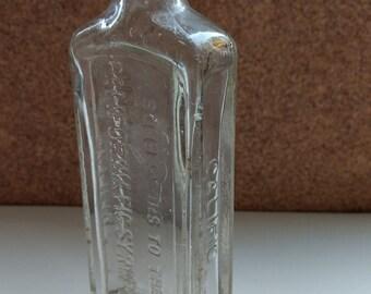 SALE Glass Califig Vintage Bottle 1940's or Earlier