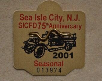 """2001 Canvas Print 14x14"""" Sea Isle City Beach Tag"""