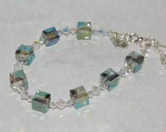 Iridescent blue bracelet