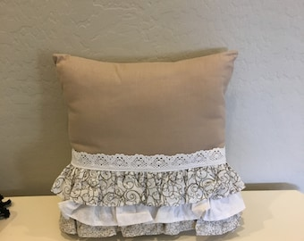 Pillow Decorative 15 x 15 Tan with white lace and ruffles - Item 1104