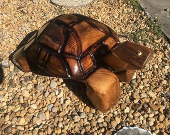 Pine Wood Chainsaw Carved Turtle