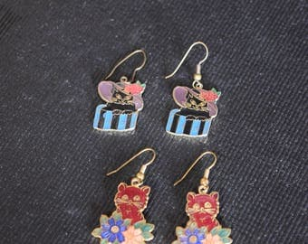 Vintage 1980's Cloisonne Cat Earrings (Two Pair)