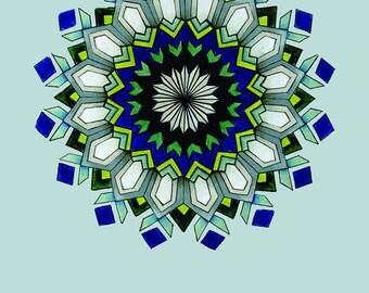 Blue Mandala Print