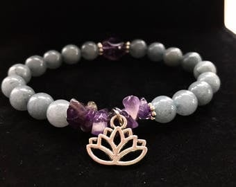 Gemstone Bracelet  Natural Amethyst Lotus Flower Charm Positive Vibes Yoga Healthy Healing Stones Positive Vibes Graduation Gift Grad