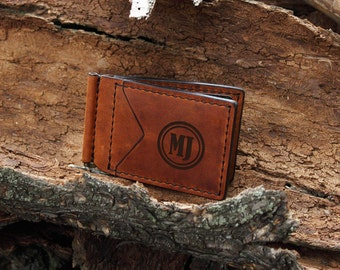 Minimalist Wallet Men, Fathers Day Gift from Son, Leather Money Clip Wallet, Anniversary Gift for Boyfriend, Personalized Money Clip