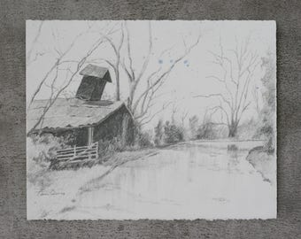 Newby Barn Original Drawing