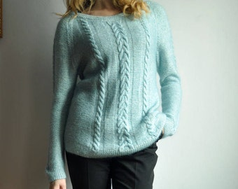 Hand knitted mohair sweater S-M-L