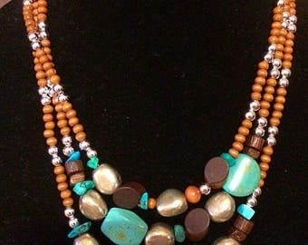 Brown, silver & turquoise
