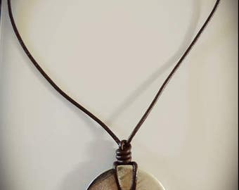 Leather with pendant necklace