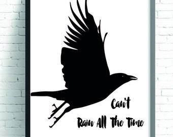 Black Crow Typography Poster, The Crow Quotation Print, Black Crow Wall Art, Black Bird Poster Print, Bird Wall Art, Modern Art, Printable