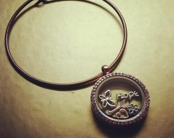 Bronze Hope Locket Bangle Bracelet