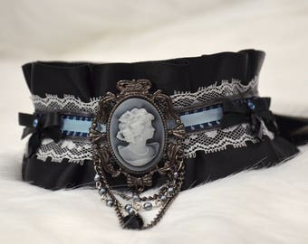 BDSM/DDLG/Kitten Play Gothic Lolita Black Silver Blue with Victorian Cameo and Swarovski Crystals