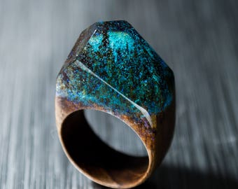 Resin Ring Wood Ring Women Nature Ring Natural Wood Jewelry womens wood ring Unique gift Handmade Wood Ring Birthday Wooden Ring Epoxy Ring