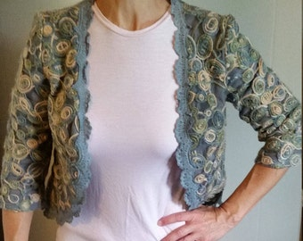 Embroidered 3/4 sleeve bolero jacket