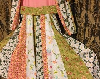 Girls islamic cotton print dress umbrella skirt