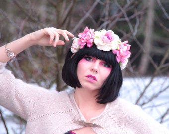 Couture Ivory and Pink Flower Crown