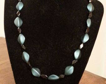 Black and teal beaded necklace