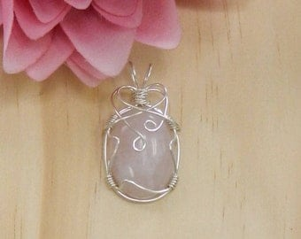 Wire Wrapped Cabochon,Wire Wrapped ROSE QUARTZ, Wire Wrapped Gemstone,Rose Quartz pendant,Rose Quartz jewelry