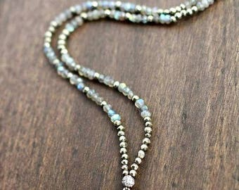Druzy on Pyrite and labradorite Gemstone Necklace