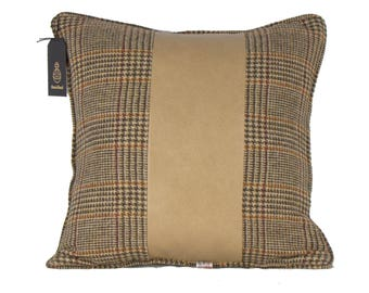 Harris Tweed leather cushion cover