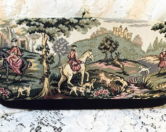 Vintage Harry Levine Handbag - Tapestry Clutch Purse HL - Colonial Scene - Green - Black Bottom Gold Snap - Coin Purse Attached