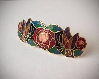 Vintage Cloisonne Barrette/ Enamel Hair Clip/ Rose and Butterfly Barrette/ Wedding Hair Clip